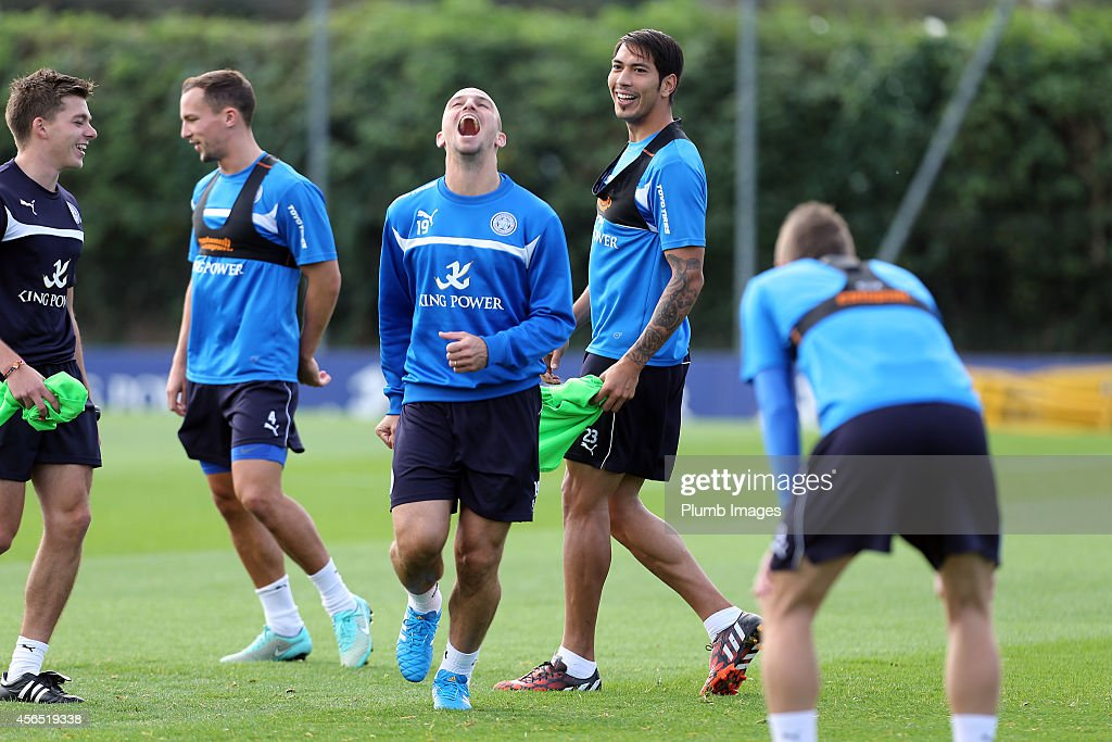 Leicester City's Esteban Cambiasso during the Leicester City training session at Belvoir Drive Training Ground on October 2, 2014 in Leicester, England.