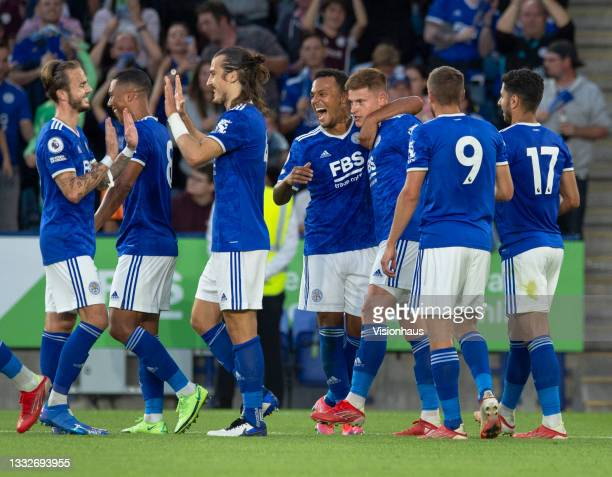Leicester City's first goalscorer Çalar Söyüncü celebrates with team mates James Maddison, Youri Tielemans, Ryan Bertrand, Harvey Barnes, Jamie Vardy...