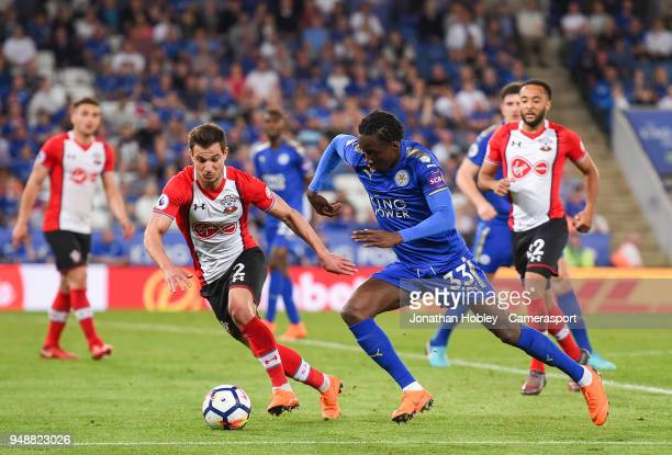 Leicester City's Fousseni Diabate battles with Southampton's Cedric Soares during the Premier League match between Leicester City and Southampton at...