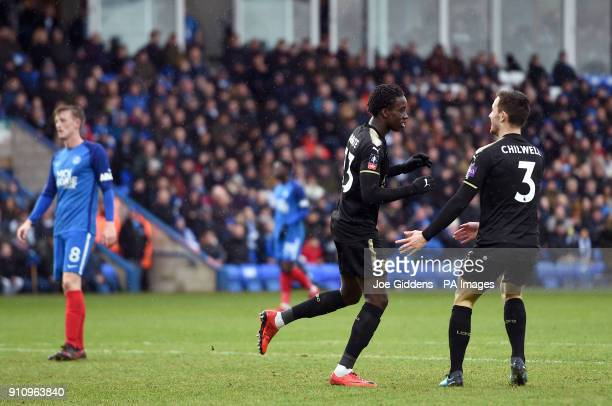 Leicester City's Fousseni Diabate celebrates scoring his side's fourth goal of the game with Ben Chilwell during the Emirates FA Cup fourth round...