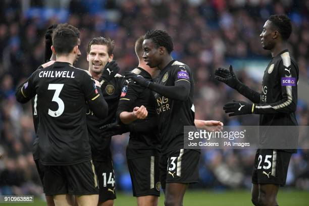 Leicester City's Fousseni Diabate celebrates scoring his side's fourth goal of the game with teammates during the Emirates FA Cup fourth round match...