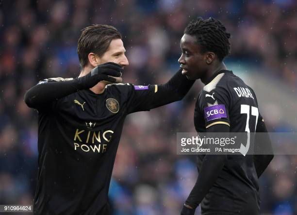 Leicester City's Fousseni Diabate celebrates scoring his side's fourth goal of the game with Adrien Silva during the Emirates FA Cup fourth round...