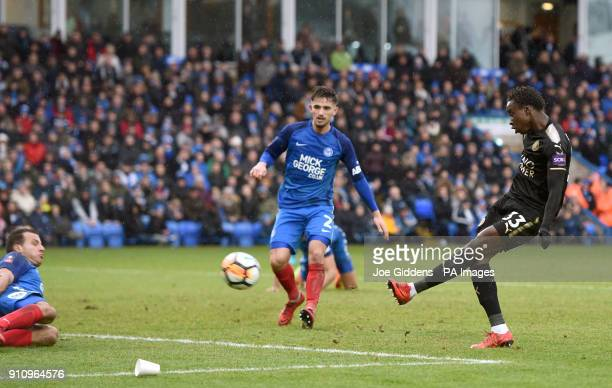 Leicester City's Fousseni Diabate scores his side's fourth goal of the game during the Emirates FA Cup fourth round match at The ABAX Stadium...