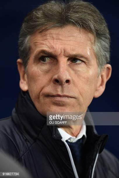 Leicester City's French manager Claude Puel arrives for the English Premier League football match between Manchester City and Leicester City at the...