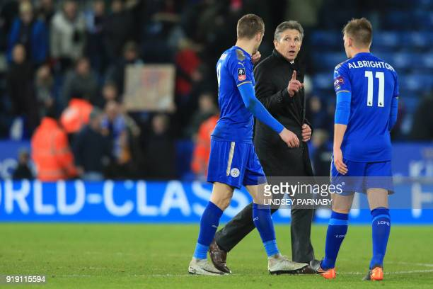 Leicester City's French manager Claude Puel gestures after during the English FA Cup fifth round football match between Leicester City and Sheffield...