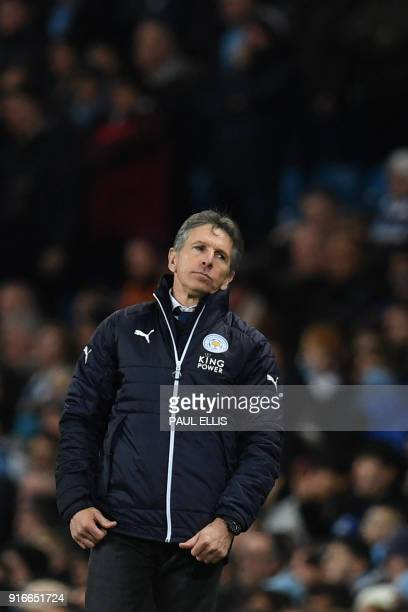 Leicester City's French manager Claude Puel gestures during the English Premier League football match between Manchester City and Leicester City at...