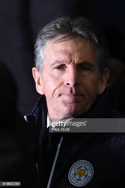 Leicester City's French manager Claude Puel looks on before the English Premier League football match between Manchester City and Leicester City at...
