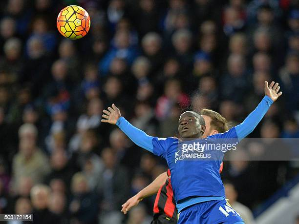 TOPSHOT Leicester City's French midfielder N'Golo Kante vies with Bournemouth's English midfielder Dan Gosling during the English Premier League...