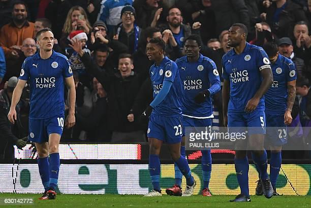 Leicester City's Ghanaian midfielder Daniel Amartey celebrates scoring his team's second goal during the English Premier League football match...