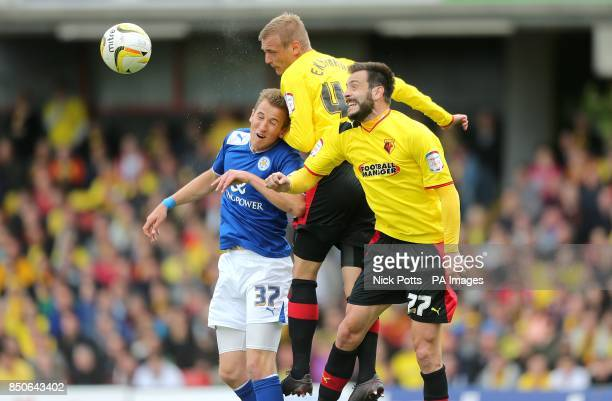 Leicester City's Harry Kane battles for the ball in the air with Watford's Joel Ekstrand and Marco Cassetti