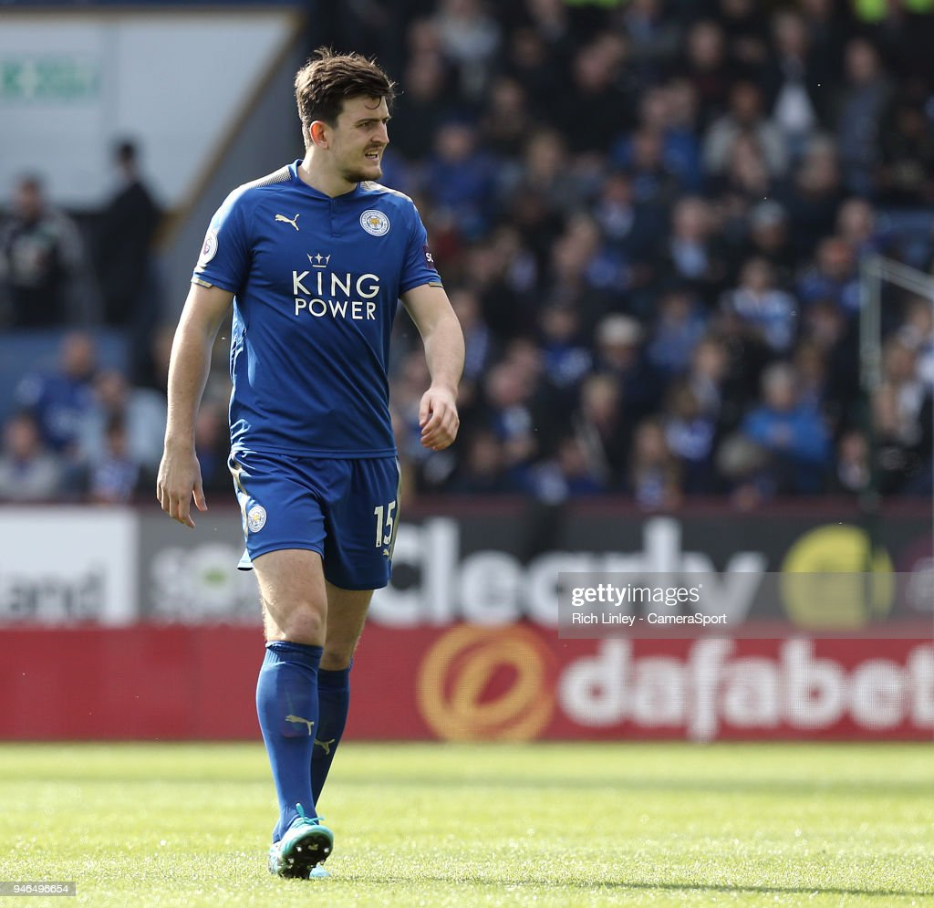Leicester City's Harry Maguire during the Premier League match between Burnley and Leicester City at Turf Moor on April 14, 2018 in Burnley, England.
