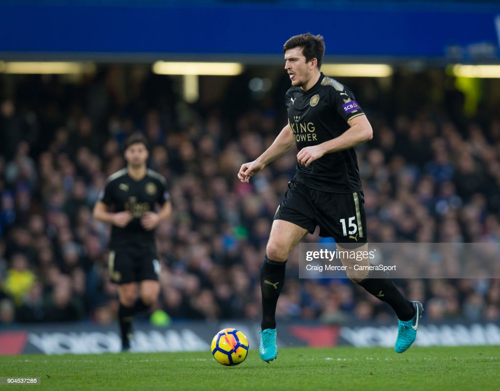 Leicester City's Harry Maguire in action during the Premier League match between Chelsea and Leicester City at Stamford Bridge on January 13, 2018 in London, England.