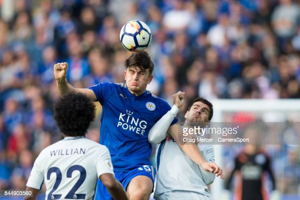 Leicester City's Harry Maguire wins a header under pressure from Chelsea's Alvaro Morata during the Premier League match between Leicester City and...