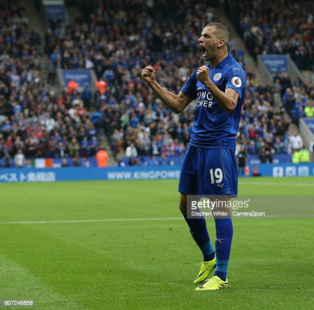 Leicester City's Islam Slimani celebrates scoring the opening goal during the Premier League match between Leicester City and Burnley at The King...