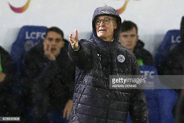 Leicester City's Italian manager Claudio Ranieri gestures on the touchline during the English Premier League football match between Leicester City...