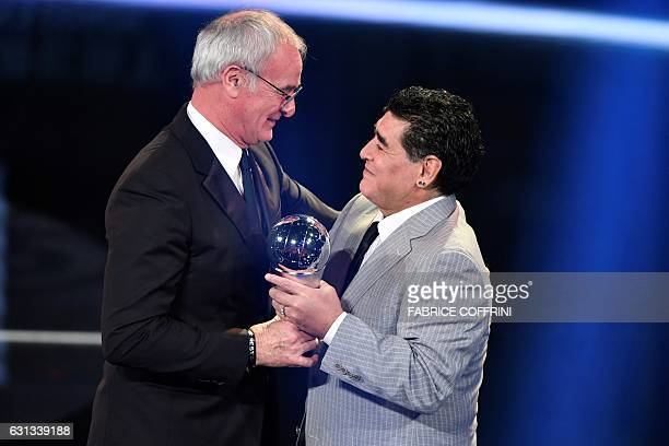 Leicester City's Italian manager Claudio Ranieri is presentend with The Best FIFA Mens Coach of 2016 Award by former Argentine football player Diego...