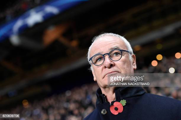 Leicester City's Italian manager Claudio Ranieri looks on prior to the UEFA Champions League group G football match between FC Copenhagen and...