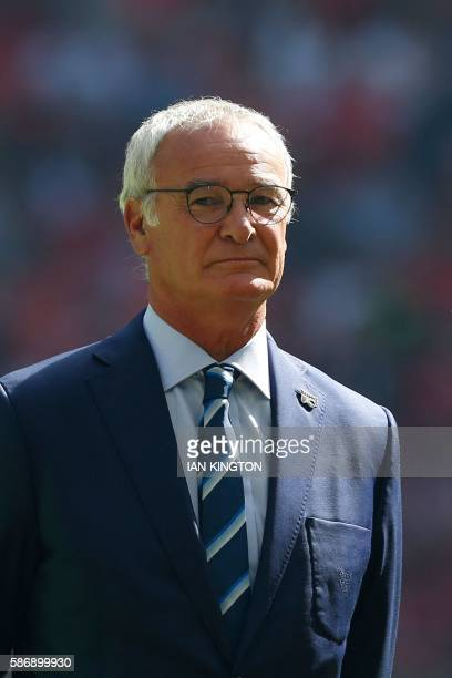 Leicester City's Italian manager Claudio Ranieri stands by as the team's are introduced for the FA Community Shield football match between Manchester...