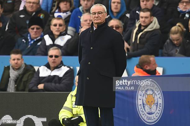 Leicester City's Italian manager Claudio Ranieri watches from the touchline during the English Premier League football match between Leicester City...