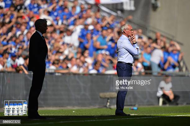 Leicester City's Italian manager Claudio Ranieri watches from the touchline with Manchester United's Portuguese manager Jose Mourinho during the FA...