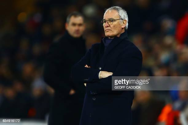 Leicester City's Italian manager Claudio Ranieri watches from the touchline during the English Premier League football match between Swansea City and...