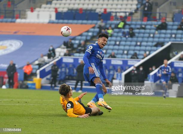 Leicester City's James Justin is fouled by Wolverhampton Wanderers' Rayan Ait-Nouri resulting in his sides second penalty, missed by team-mate Jamie...