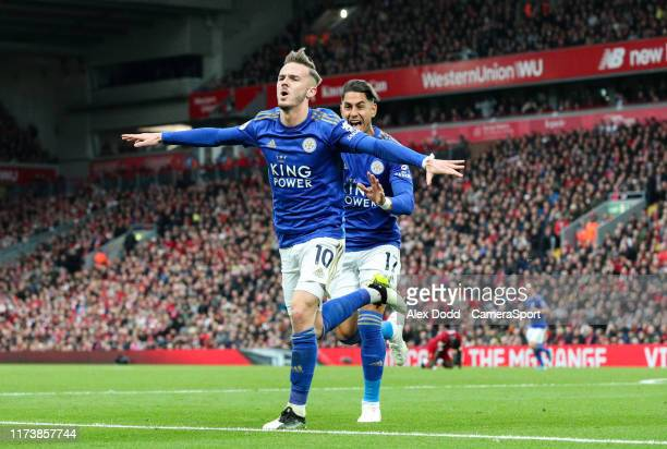 Leicester City's James Maddison celebrates scoring his side's equalising goal to make the score 1-1 during the Premier League match between Liverpool...