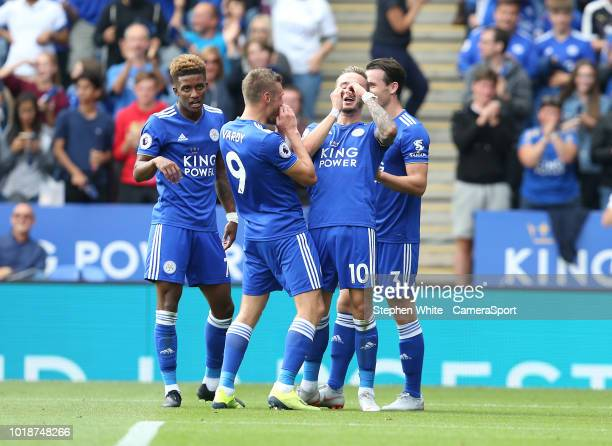 Leicester City's James Maddison celebrates scoring his side's second goal with teammates Jamie Vardy and Ben Chilwell during the Premier League match...