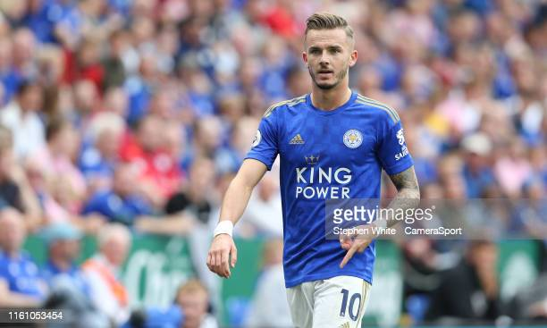 Leicester City's James Maddison during the Premier League match between Leicester City and Wolverhampton Wanderers at The King Power Stadium on...
