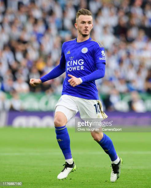 Leicester City's James Maddison during the Premier League match between Leicester City and Burnley FC at The King Power Stadium on October 19 2019 in...