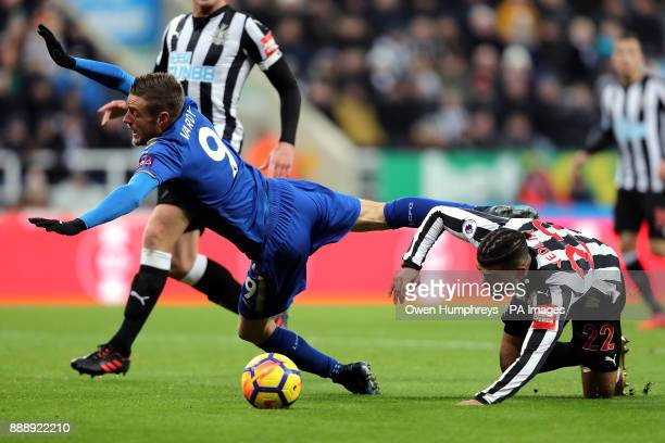 Leicester City's Jamie Vardy and Newcastle United's DeAndre Yedlin battle for the ball during the Premier League match at St James' Park Newcastle