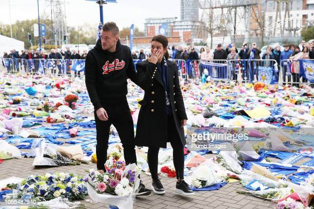 Leicester City's Jamie Vardy and wife Rebekah Vardy lay a wreath in memory of those killed in the helicopter crash outside King Power Stadium on...