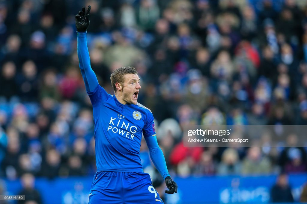 Leicester City's Jamie Vardy appealing during the Premier League match between Leicester City and Stoke City at The King Power Stadium on February 24, 2018 in Leicester, England.