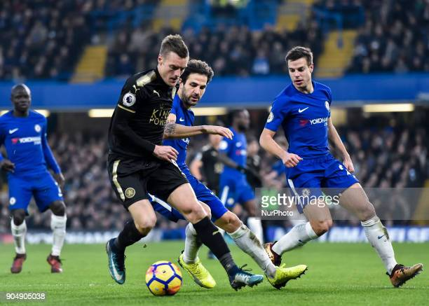 Leicester City's Jamie Vardy battles for possession with Chelsea's Cesc Fabregas during the Premier League match between Chelsea and Leicester City...