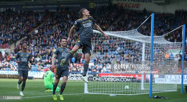 Leicester City's Jamie Vardy celebrates scoring his second and side's fourth goal during the Premier League match between Huddersfield Town and...