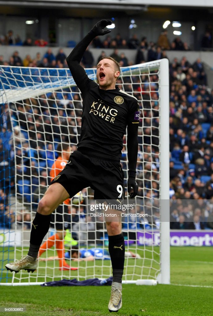 Leicester City's Jamie Vardy celebrates scoring his side's second goal during the Premier League match between Brighton and Hove Albion and Leicester City at Amex Stadium on March 31, 2018 in Brighton, England.
