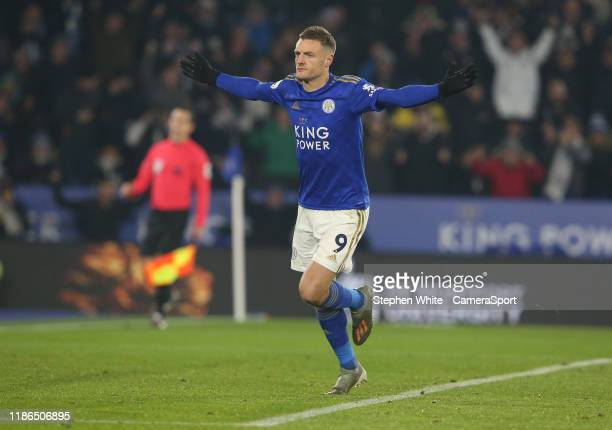 Leicester City's Jamie Vardy celebrates scoring the opening goal during the Premier League match between Leicester City and Watford FC at The King...