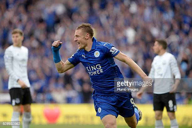 Leicester City's Jamie Vardy celebrates scoring the opening goal during the Barclays Premier League match between Leicester City and Everton at the...