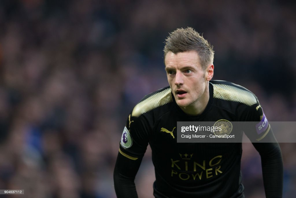 Leicester City's Jamie Vardy during the Premier League match between Chelsea and Leicester City at Stamford Bridge on January 13, 2018 in London, England.