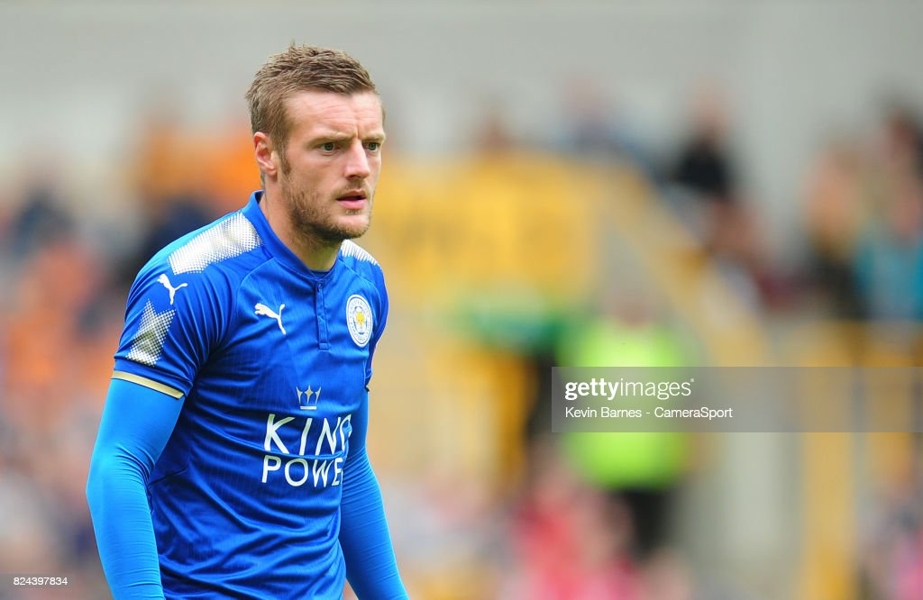 Leicester Citys Jamie Vardy during the pre-season friendly match between Wolverhampton Wanderers and Leicester City at Molineux on July 29, 2017 in Wolverhampton, England.