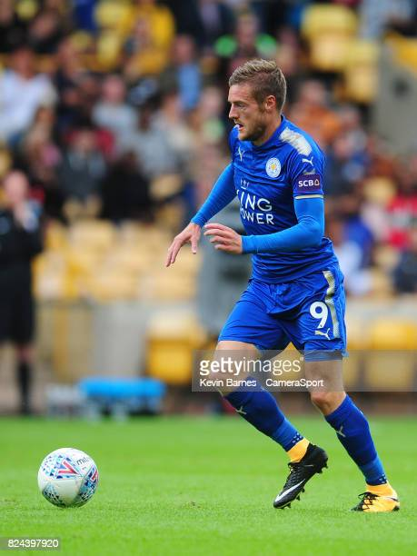 Leicester Citys Jamie Vardy during the preseason friendly match between Wolverhampton Wanderers and Leicester City at Molineux on July 29 2017 in...