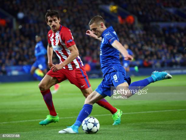 Leicester City's Jamie Vardy during UEFA Champions League QuarterFinals match between Leicester City and Atletico Madrid at King Power Stadium...