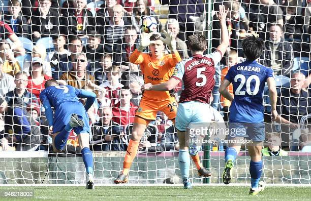 Leicester City's Jamie Vardy fails to guide a closerange headed effort past Burnley's Nick Pope during the Premier League match between Burnley and...