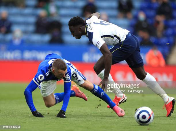 Leicester City's Jamie Vardy is fouled by Tottenham Hotspur's Davinson Sanchez during the Premier League match at the King Power Stadium, Leicester....