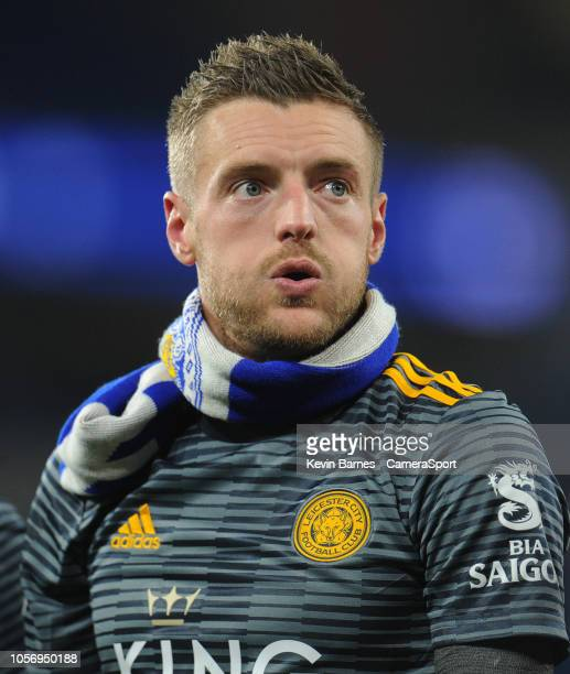 CARDIFF WALES NOVEMBER Leicester City's Jamie Vardy looks emotional as he joins his teammates in thanking fans for their support during the Premier...