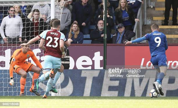 Leicester City's Jamie Vardy scores his side's first goal past Burnley's Nick Pope during the Premier League match between Burnley and Leicester City...