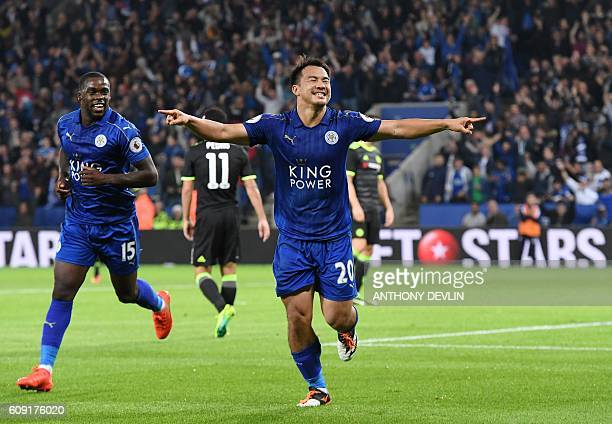 Leicester City's Japanese striker Shinji Okazaki celebrates after scoring his and Leicester's second goal during the English League Cup third round...