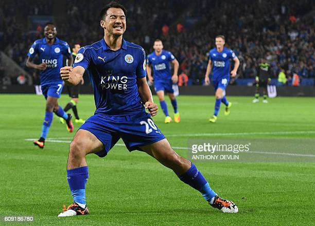 Leicester City's Japanese striker Shinji Okazaki celebrates after scoring the opening goal of the English League Cup third round football match...