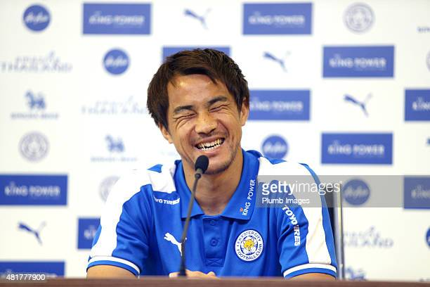 Leicester City's Japanese striker Shinji Okazaki gives a press conference to the Japanese media at King Power Stadium on July 24 2015 in Leicester...