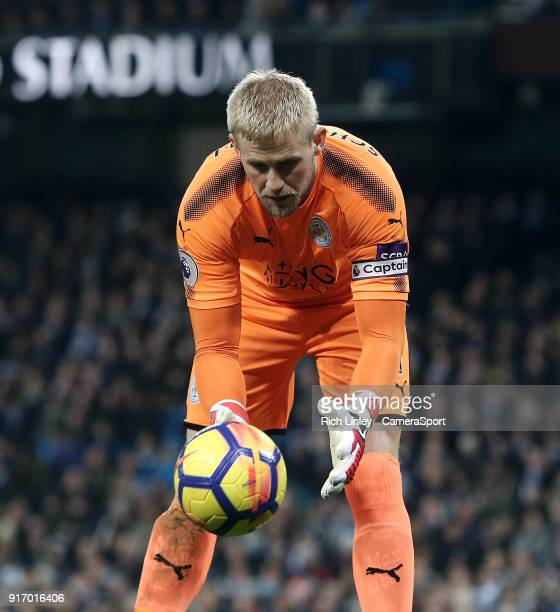 Leicester City's Kasper Schmeichel during the Premier League match between Manchester City and Leicester City at Etihad Stadium on February 10 2018...